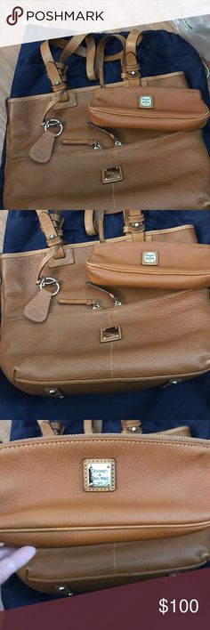 Dooney & Bourke Tan Tote Style Handbag Large Dooney & Bourke Tan tote handbag. Soft pebble grain leather. The only wear and tear really is on the bottom and really only the corners which I tried to show in pics. I could only show one corner but all 4 corners have the same scuffing. The inside is immaculate and comes with a key ring and small matching cosmetic bag. Sooo much room in this bag. Great for traveling with long shoulder straps.  I can measure if you want.  Comes with dust bag…