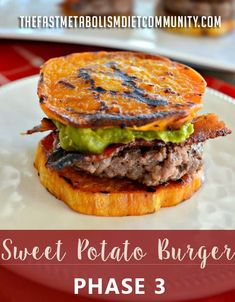 Seriously delicious, nutritious and incredibly satisfying sweet potato burger. They're about to be your favorite lunch meal for Phase 3 recipe. Ingredients 1 sweet potato Salt Pepper 1/2 tablespoon of