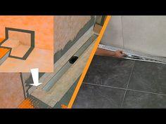 Plaatsing van afvoergoot tegen de wand: onderbouwelement, hellingsplaat, afdichting, lijnafvoergoot, rooster, afschotprofiel, uitzettingsvoegprofiel en tegel...