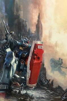 "Gabriele dell Otto ""Mobile Suit Gundam"" acrylics on heavy paper. Gundam Wing, Gundam Art, Power Rangers, Anime Manga, Anime Art, Macross Valkyrie, Gundam Wallpapers, Gundam Mobile Suit, Gundam Seed"