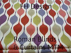 MTM Roman Blind & Curtains In Retro Design Fabric Olive damson berry stone