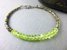 Peridot Heart Chakra Bracelet, Summer Stacking Bracelet, August Birthstone
