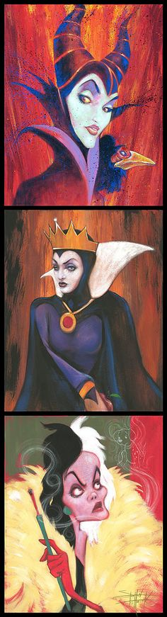 Maleficent, The Evil Queen and Cruella de Vil by Stephen Fishwick