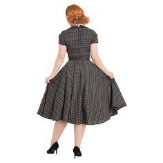 Voodoo Vixen Ella Tartan Flare Dress (Grey)