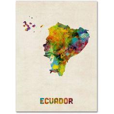 Trademark Fine Art Ecuador Watercolor Map Canvas Art by Michael Tompsett, Size: 35 x 47, Multicolor