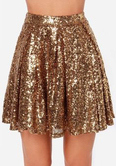 Golden Plain Sparkly Sequin Draped A-line Pleated High Waisted Fashion Mini Skirt