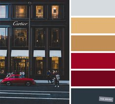 Grey gold and red color scheme , Cartier store inspired color palette #color #red #gold