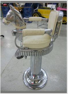 Child's barber chair ~ now that's my kinda barber chair. Barber Shop Chairs, Barber Chair, Kids Barber, Shaved Hair Cuts, Barbershop Design, Home Salon, Vintage Chairs, Salon Design, Beauty Shop