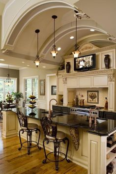 Like the antique glaze on the light cabinets - its not too dark.