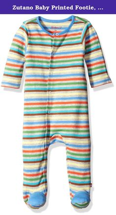 Zutano Baby Printed Footie, Stellar Stripe, 3 Months. The Zutano footie has easy snaps that go from the collar down along one leg, to make dressing easy and to cover diapers and little legs in seamless comfort. There is adorable contrast trim around the collar and on the tops of the feet, adding a bit of color and style. .