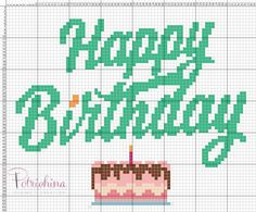 happy birthday buon compleanno schema punto croce - cross Stitch - Kreuzstich - Punto de Cruz