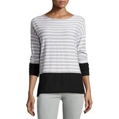 Vince Striped Boat-Neck Sweater ($83) ❤ liked on Polyvore featuring tops, sweaters, long sleeve sweaters, striped sweater, long sleeve pullover sweater, white pullover sweater and white pullover