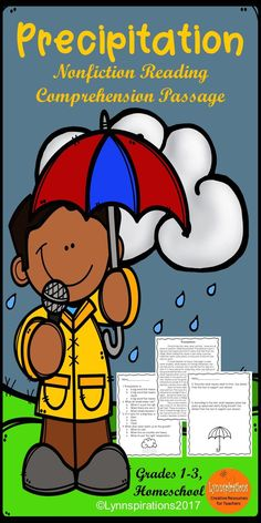 This reading comprehension activity is great for teaching the science of Precipitation for grades 1-3. It can be used in your class to help your students with reading comprehension skills as well as with test taking skills. It is part of the Weather Bundle. Please take a preview peek! Included: An engaging passage with 4 multiple choice questions and 2 written responses