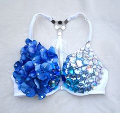 This beautiful La Senza pushup bra has a rhinestone encrusted front closure as well as a beautiful rhinestone embellished halter back. The ombre of blue gems and flowers will make you feel like a goddess in this bra.   Perfect for your next rave, music festival or just because you can!