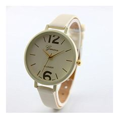 * Penny Deals * - Fashion New Geneva Women Faux Leather Analog Quartz Wrist Watch Beige *** See this great product.