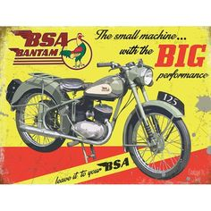 BSA Bantam D1 Motorcycle A3 size Limited Edition Print