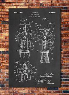 Wine Decor Corkscrew Patent by CatkumaPatentPress on Etsy