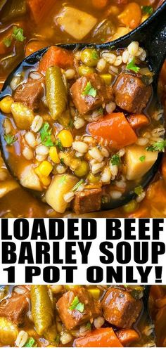 Quick and easy beef barley soup recipe, made with simple ingredients in one pot. A weeknight meal loaded with Italian seasoning, vegetables, tender beef. Slow Cooker Recipes, Beef Recipes, Cooking Recipes, Beef Broth Soup Recipes, Cooking Tips, Recipies, Cooking Bacon, Beef Barley Soup, Healthy Soup Recipes