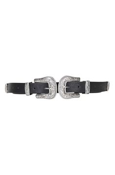 Crushing on this Western-inspired double buckle belt with silver hardware.