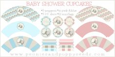 Free Basic Baby Shower Cupcake Printables | Peonies and Poppyseeds. Heaps of Free printables on this site!!