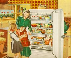 This was a particularly big fridge in those days (aka, the 1940s). Love how well stocked it is - right down to the desserts already in their serving dishes. #1940s #vintage #fridge #kitchen #forties #home #house