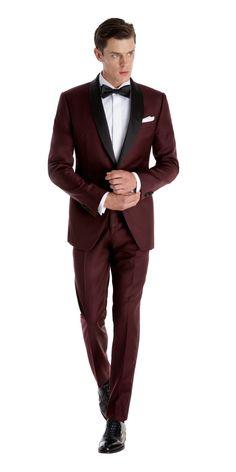 Deep Burgundy Custom Tuxedo | Black Lapel