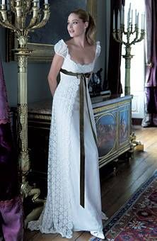 THIS IS IT! Classic Empire -- This is very nearly my dream wedding dress. The only changes I would make would be less of a scoop neck, and a different colored ribbon (maybe blue, or purple, or to match bridesmaid's dresses.)