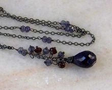 Sterling Silver African Sapphire- Iolite-Garnet Gemstone Briolette Necklace- Artisan Handmade Gemstone Jewelry Gift for Woman/ Her