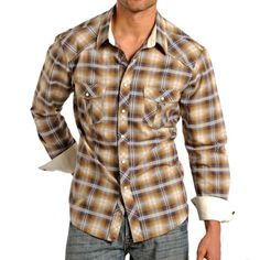 Rock & Roll Cowboy Lurex® Plaid Western Shirt - Woven Cotton, Snap Front, Long Sleeve (For Men))