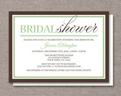 Modern Green & Brown Bridal Shower Invitations – Artistically Invited