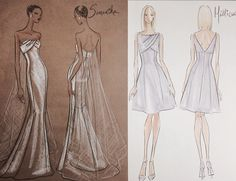 Bridal Gown and coordinating Bridesmaid gown (Bridal freelance job 2015)