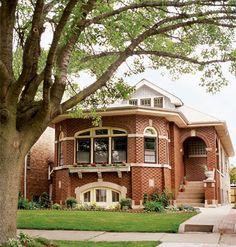 Chicago bungalow with intricate brick pattern and masonry