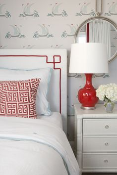 Red + Aqua Shared Room - love the subtle sailboat wallpaper! #sharedroom