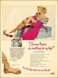 Cannon stockings advertisement, 1950s Illustration by Jon Whitcomb
