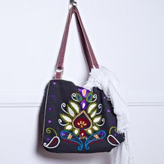 paisley embroidered cube bag - Salt & Air http://saltandair.com/product/paisley-embroidered-cube-bag/