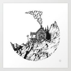The mountain house Art Print by wildwither Dotted Drawings, Cool Art Drawings, Pencil Art Drawings, Art Drawings Sketches, Ink Illustrations, Illustration Art, Stippling Art, Pen Art, House Art