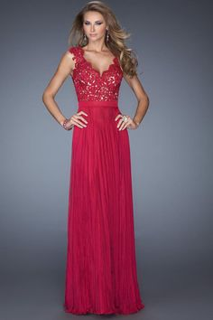 2014 Long Dress V Neck Appliqued Bodice Ruched Waistband Flowing Chiffon Skirt