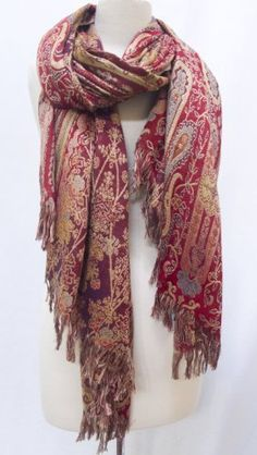 """Red Paisley"" Woven Silk Wool Shawl Scarf Stole Wrap Burgundy Red Gold Steel Paisley. $129.00"