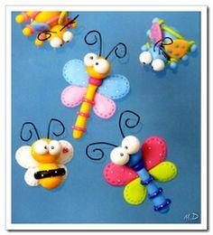 como hacer bichitos de colores en porcelana fría Polymer Clay Kawaii, Polymer Clay Animals, How To Make Clay, Pasta Piedra, Jumping Clay, Clay Projects, Clay Crafts, Cute Clay, Clay Figurine