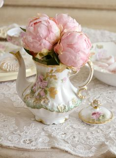Peonies and vintage china-a perfect combination!