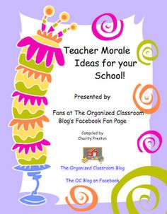 Teacher Morale Ideas Free eBook - perfect for parents to get ideas for how to help out teachers or for teachers/administrators to implement at their school www. School Staff, School Counselor, School Classroom, School Fun, School Ideas, Middle School, High School, Classroom Freebies, Classroom Ideas