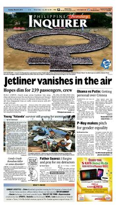 """""""Jetliner vanishes in the air,"""" today's Inquirer Banner Story (March 9, 2014). Grab your copies from the nearest newsstand or download the digital version at inquirer.net/apps/"""