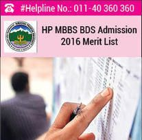 HP MBBS BDS 2016 Merit List