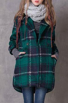 Checked Turn-Down Collar Wool Coat ==