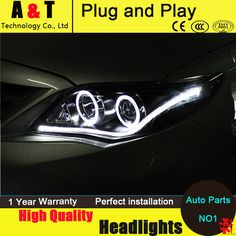 Simple Auto Lighting Style LED Head Lamp for Toyota Corolla led headlights Altis angel eye led