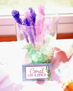 Coral on a stick----sugar stick candy in a vase with glass pebbles. Cute and easy---Image Only