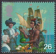Millennium Series. The Settlers' Tale 26p Stamp (1999) Pilgrim Fathers and Red Indian (17th century migration to America)