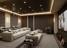 134 Charles Street is a rare wide West Village mansion designed by Leroy Street Studio and Edmund Hollander Landscape Architect. Home Theater Room Design, Movie Theater Rooms, Home Cinema Room, Home Theater Decor, Home Theater Seating, Home Theatre, Movie Rooms, Tv Rooms, Home Decor