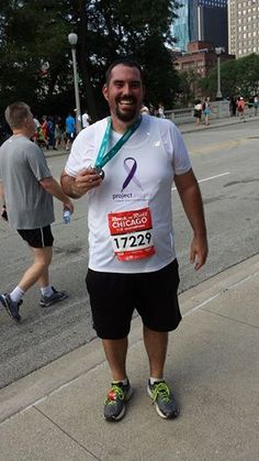"""Project Purple hits the streets of Chicago on October 12th and we want you to meet one of our runners Bret Miller from our Chicago Team. Brett lost his dad to Pancreatic Cancer in January of this year. Brett says """"One of the great things about my dad, was that he always had a smile on his face, even at the end. When I run, and think about my dad I am reminded of the quote attributed to Dr. Seuss, 'Don't cry because it is over, smile because it happened.'"""""""
