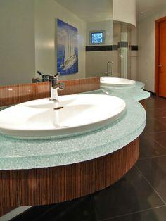 resin bathroom countertop recycled glass counterbath